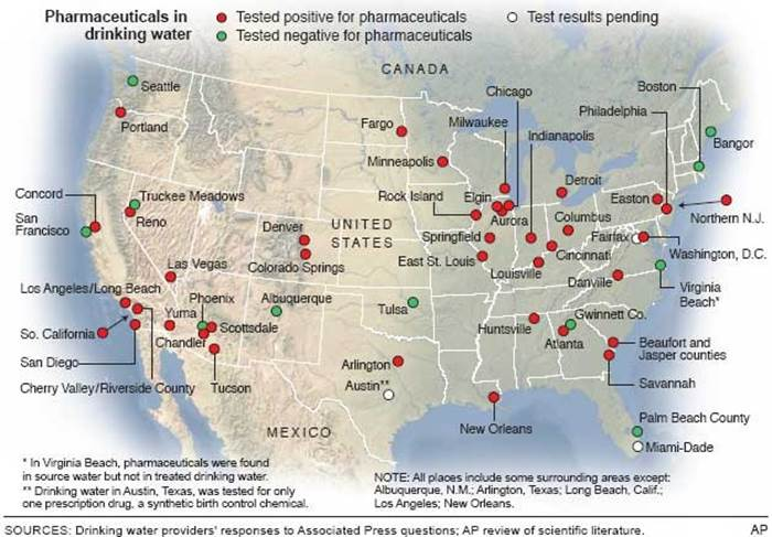 Cities with pharmaceuticals in water